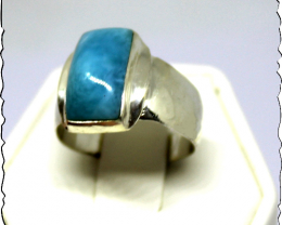 Exquisite Natural Deep Blue AAA++ Larimar .925 Sterling Silver Ring #7 for