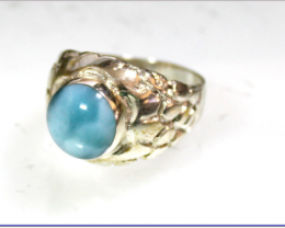 Outstanding Sky Blue Larimar Sterling Silver Ring #10