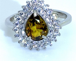 Sphene 1.50ct White Gold Finish Solid 925 Sterling Silver Ring