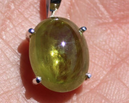 Green Sphene 9.74ct Rhodium Finish Solid 925 Sterling Silver Pendant