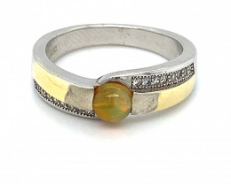 Orange Opal .71ct Rhodium Finish Solid 925 Sterling Silver Solitaire Ring