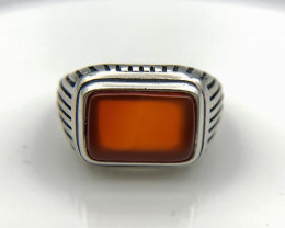 35.33 Crt Natural Red Agate 925 Silver Ring