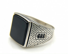 45.58 Crt Natural Black Onyx 925 Silver Ring