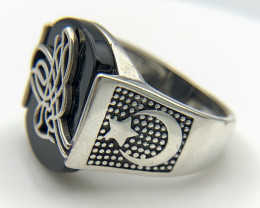 38.27 Crt Natural Black Onyx 925 Silver Ring