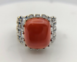 39.20 Crt Natural Red Agate 925 Silver Ring