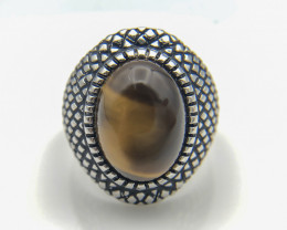 55.95 Crt Natural Tiger Eye 925 Silver Ring