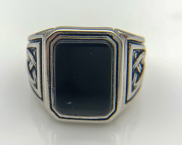 42.50 Crt Natural Black Onyx 925 Silver Ring