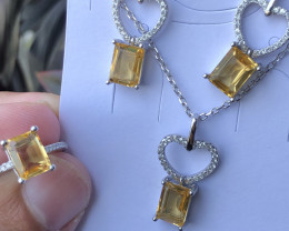 Natural Citrine Full Set 925 Silver Necklace Earrings And Ring