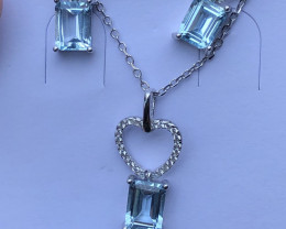 Natural Swiss Blue Topaz Full Set 925 Silver Necklace Earrings And Ring