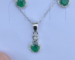 Natural Green Agate Full Set 925 Silver Necklace Earrings And Ring