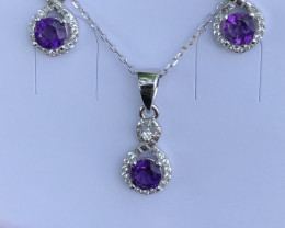 Natural Amethyst Full Set 925 Silver Necklace Earrings And Ring