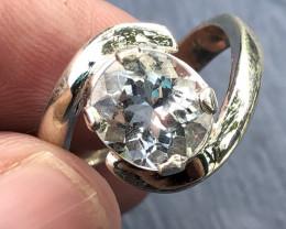 Natural Aquamarine Hade Made 925 Silver Ring