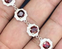 Natural Rhodolite Garnet 925 Silver Bracelet