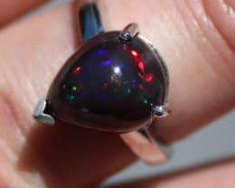 Black Opal 6.69ct Rhodium Finish Solid 925 Sterling Silver Solitaire Ring