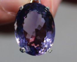 Amethyst 11.34ct Rhodium Finish Solid 925 Sterling Silver Pendant