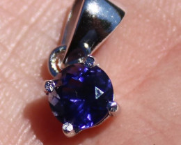 Iolite .82ct Rhodium Finish Solid 925 Sterling Silver Pendant