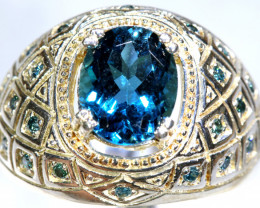 34.50 CTS BLUE TOPAZ SILVER RING SG-3031