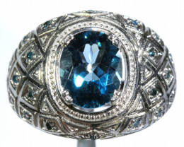 36.15 CTS BLUE TOPAZ SILVER RING SG-3040