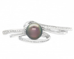 18K GOLD SOUTH PACIFIC SALT NATURAL PEARL BROOCHE [JB01 ]