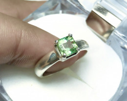 20.20 Ct Natural Greenish Transparent Tourmaline Solid Silver Ring