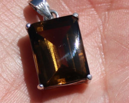 Smoky Quartz 12.17ct Rhodium Finish Solid 925 Sterling Silver Pendant