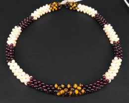 Natural Pearls,Red Garnet & Tigereye Necklace by DANI Jewellery