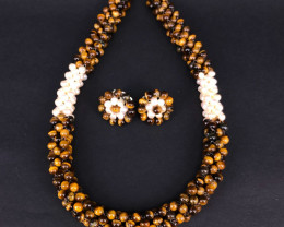 Natural Pearlswith Tigereye Necklace with Tops By DANI Jewellery