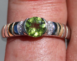 Peridot 1.38ct Rhodium Finish Solid 925 Sterling Silver Men and Boys Solita