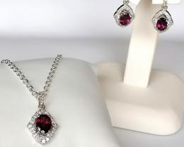 Purple Garnet Necklace and Earrings Set 4.25 TCW