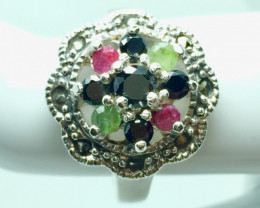 Natural Emerald Ruby Sapphire Gemstone. Silver 925 Ring. DMIX 70