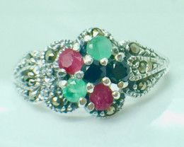 Natural Emerald Ruby Sapphire Gemstone. Silver 925 Ring. DMIX 71