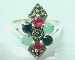 Natural Emerald Ruby Sapphire Gemstone. Silver 925 Ring. DMIX 74