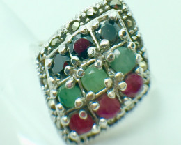 Natural Emerald Ruby Sapphire Gemstone. Silver 925 Ring. DMIX 75