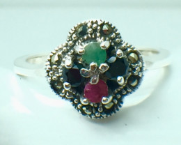 Natural Emerald Ruby Sapphire Gemstone. Silver 925 Ring. DMIX 76