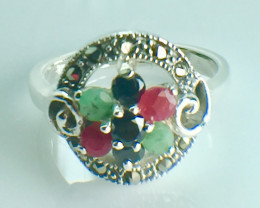 Natural Emerald Ruby Sapphire Gemstone. Silver 925 Ring. DMIX 79