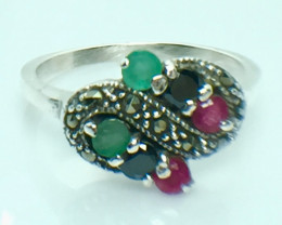 Natural Emerald Ruby Sapphire Gemstone. Silver 925 Ring. DMIX 80