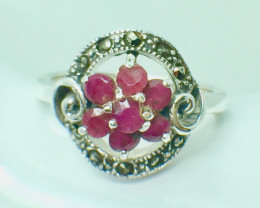 Natural Ruby Gemstone. Silver 925 Ring. DRB 72