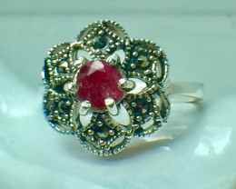 Natural Ruby Gemstone. Silver 925 Ring. DRB 73