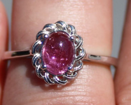 Red Tourmaline 1.41ct or Rubellite Rhodium Finish Solid 925 Sterling Silver
