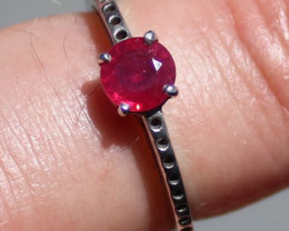 Ruby .78ct Rhodium Finish Solid 925 Sterling Silver Solitaire Ring