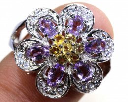 38.95  CTS AMETHYST AND CITRINE SILVER RING SG-3049