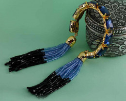Elegant Blue Colour Stone Harmony Coff And Kada Bracelet For Girls And Wome