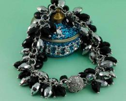 Black And Silver Pearl Diamond Bracelet