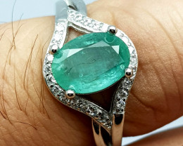 Natural Oval Emerald 925 Sterling Silver Ring