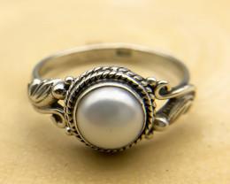 11.40 Crt Natural Fresh Water Pearl 925 Silver Ring