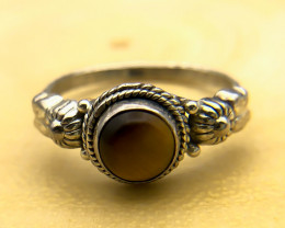 11.69 Crt Natural Tiger Eye 925 Silver Ring