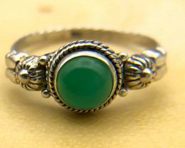 11.96 Crt Natural Green Agate 925 Silver Ring