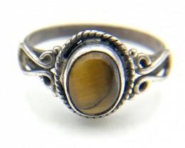 11.19 Crt Natural Tiger Eye 925 Silver Ring