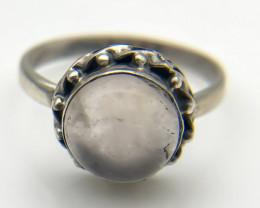 12.41 Crt Natural Rose Quartz 925 Silver Ring
