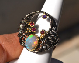 Opal in Sterling Silver Ring -- 11.02 Grams